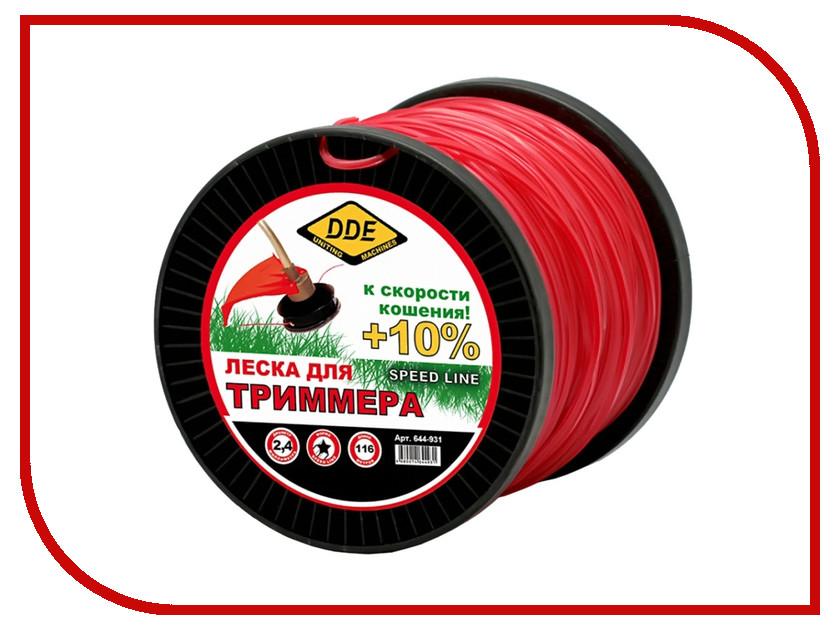 Аксессуар Леска для триммера DDE Speed Line 2.4mm x 116m Red 644-931