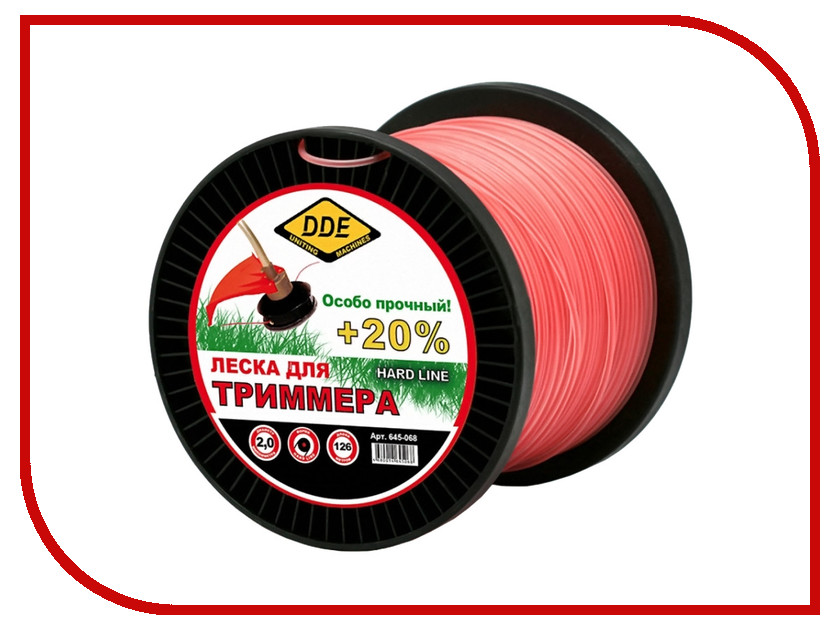 Аксессуар Леска для триммера DDE Hard Line 2.0mm x 126m Grey-Red 645-068 нож dde 645 518