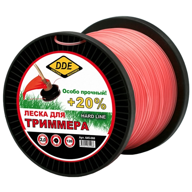 Леска для триммера DDE Hard Line 2.0mm x 126m Grey-Red 645-068