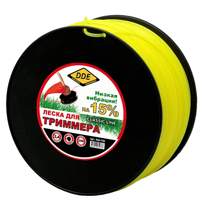 Леска для триммера DDE Classic Line 2.4mm x 259m Yellow 644-788