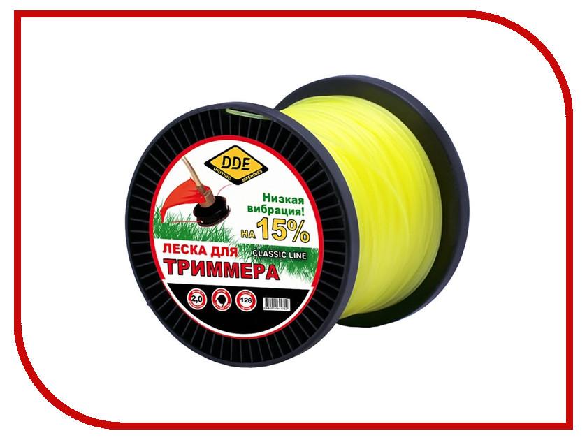 Аксессуар Леска для триммера DDE Classic Line 2.0mm x 126m Yellow 644-733 леска для триммера oregon 99152е старлайн 2 мм х 15 м
