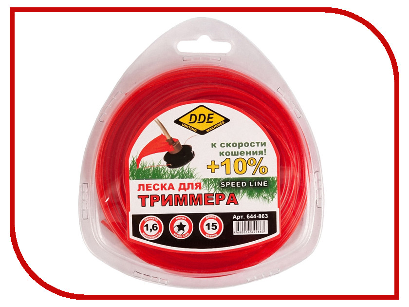 Аксессуар Леска для триммера DDE Speed Line 1.6mm x 15m Red 644-863 леска для триммера oregon 99152е старлайн 2 мм х 15 м
