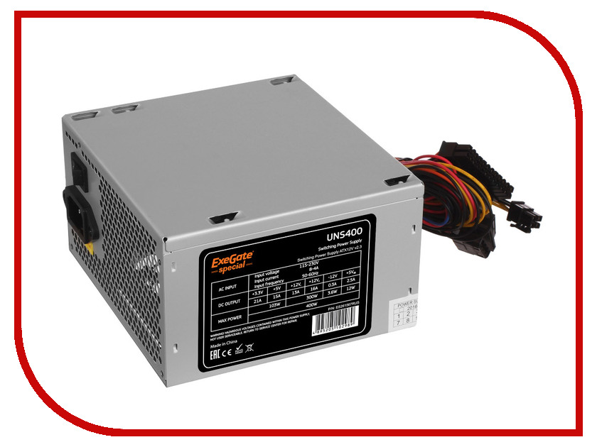 Блок питания ExeGate Special ATX-UNS400 400W 261567 блок питания atx 400 вт xilence xp400r6 xn041
