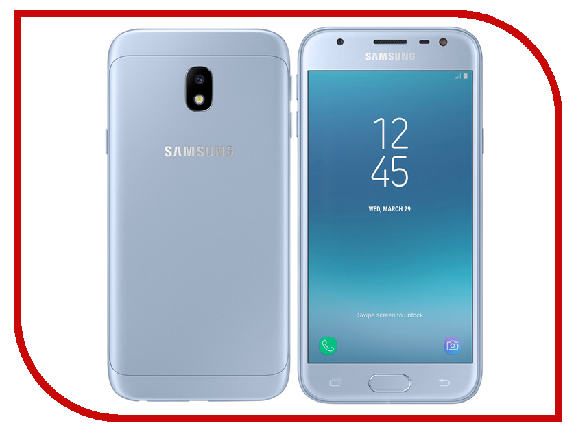 Сотовый телефон Samsung SM-J330F/DS Galaxy J3 2017 Blue сотовый телефон samsung sm a500f ds galaxy a5 duos white