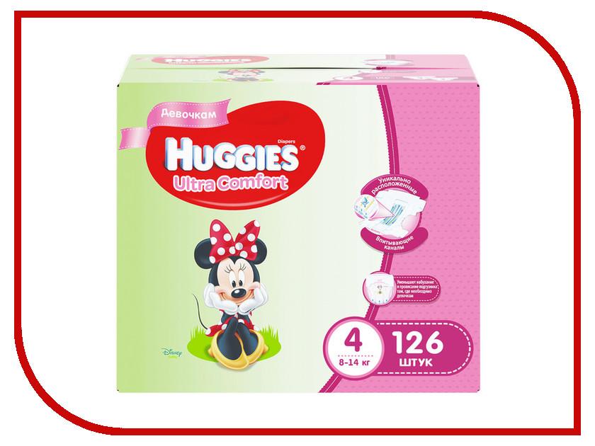 Подгузники Huggies Ultra Comfort 4 Disney Box 8-14кг 126шт для девочек huggies трусики подгузники 5 для девочек 13 17 кг disney box 48 2 96 шт huggies