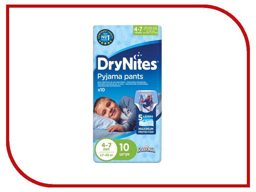 Подгузники Huggies DryNights 4-7лет 17-30кг 10шт для мальчиков