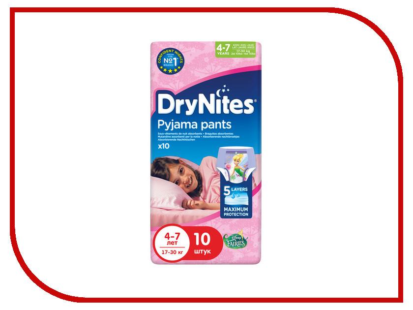 Подгузники Huggies DryNights 4-7лет 17-30кг 10шт для девочек