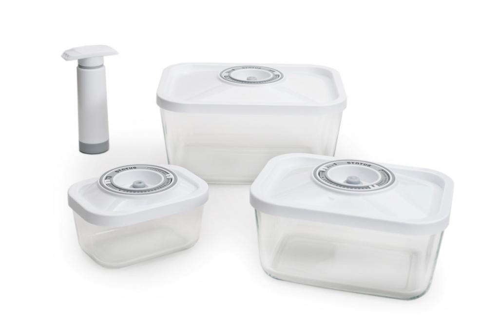 Набор вакуумных контейнеров Status VAC-Glass-Set White