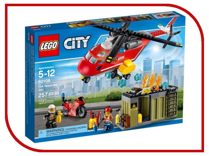 Конструктор Lego City Пожарная команда быстрого реагирования 60108 lego city 60148 гоночная команда