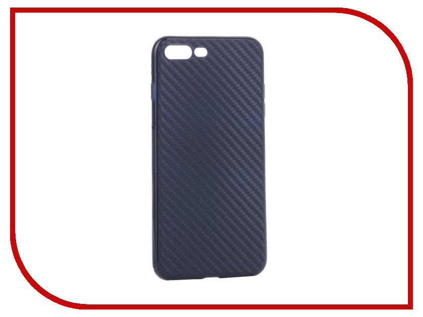 Аксессуар Чехол Krutoff Silicone Carbon для iPhone 7 Plus Blue 11848 аксессуар чехол elari для elari cardphone и iphone 6 plus blue