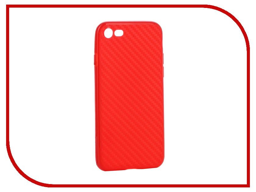 Аксессуар Чехол Krutoff Silicone Carbon для iPhone 7 Red 11846 аксессуар чехол krutoff silicone для iphone 7 plus white 11830