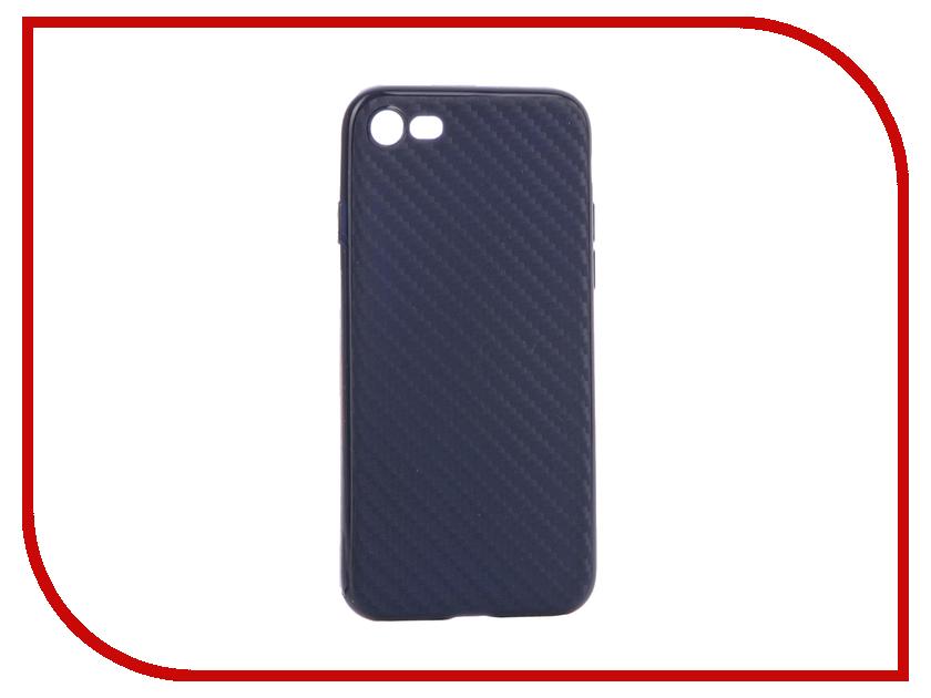 Аксессуар Чехол Krutoff Silicone Carbon для iPhone 7 Blue 11845