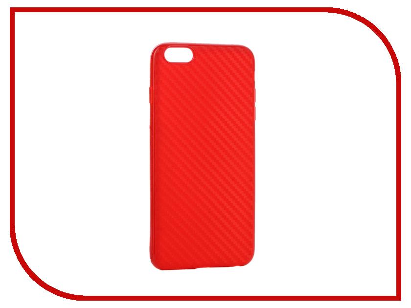 Аксессуар Чехол Krutoff Silicone Carbon для iPhone 6 Plus Red 11843