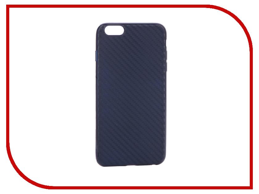 Аксессуар Чехол Krutoff Silicone Carbon для iPhone 6 Plus Blue 11842 аксессуар чехол krutoff silicone для iphone 7 plus white 11830