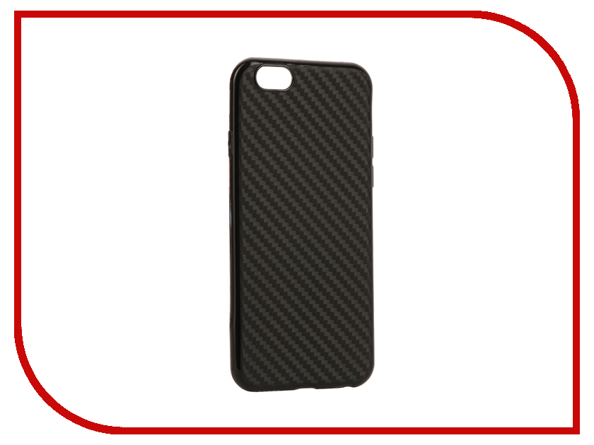 Аксессуар Чехол для APPLE iPhone 6 / 6S Krutoff Silicone Carbon Black 11838 аксессуар чехол krutoff leather case для iphone 6 6s black 10750