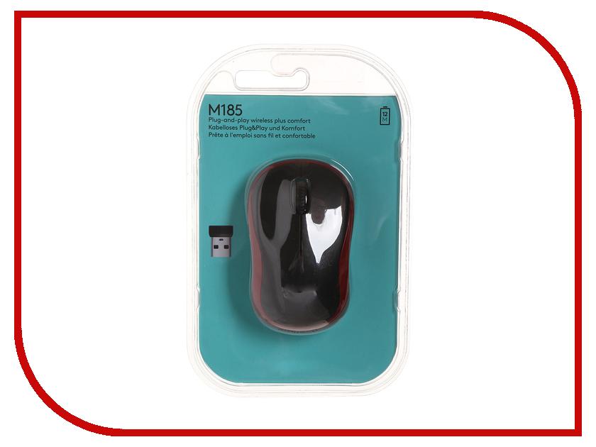 Мышь беспроводная Logitech M185 Dark-Red 910-002240