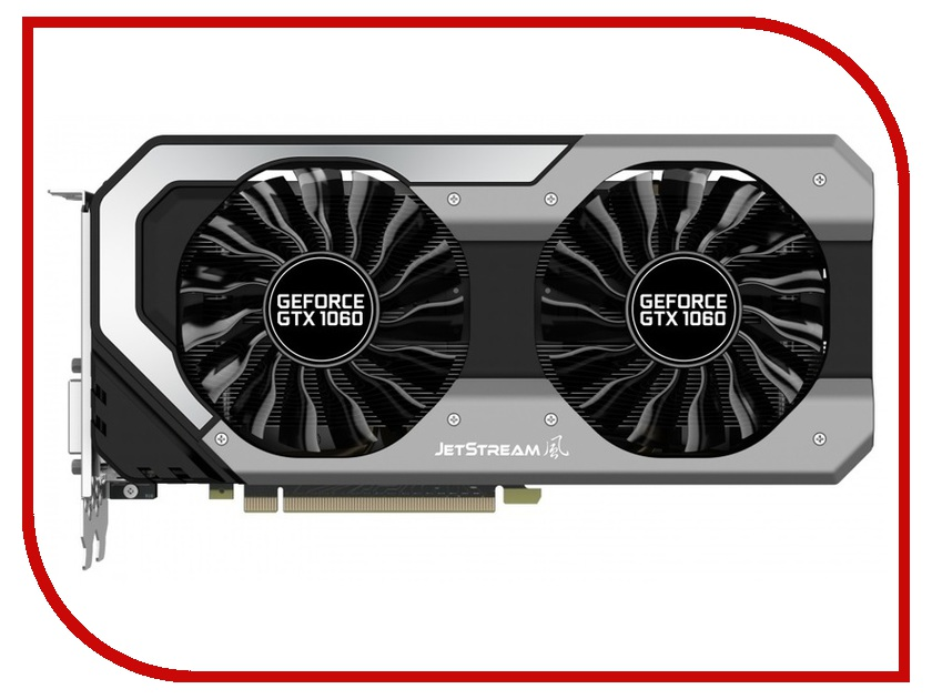 Видеокарта Palit GeForce GTX 1060 Super Jetstream 1594Mhz PCI-E 3.0 3072Mb 8000Mhz 192 bit DVI HDMI HDCP NE51060S15F9-1060J видеокарта asus geforce gtx 1060 1620mhz pci e 3 0 6144mb 8208mhz 192 bit dvi hdmi hdcp rog strix gtx1060 o6g gaming