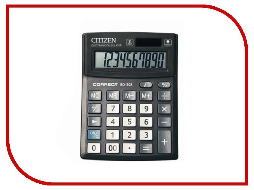 Калькулятор CITIZEN SD-208 Black двойное питание