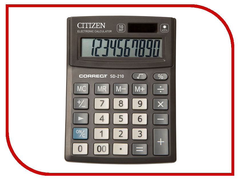 Калькулятор CITIZEN SD-210 Black двойное питание