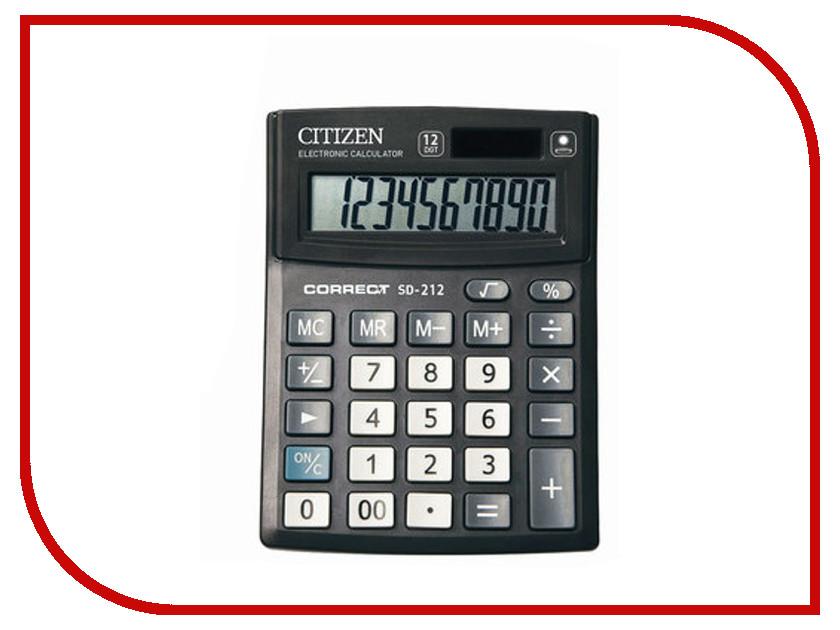Калькулятор CITIZEN SD-212 Black двойное питание калькулятор citizen d 312 black двойное питание