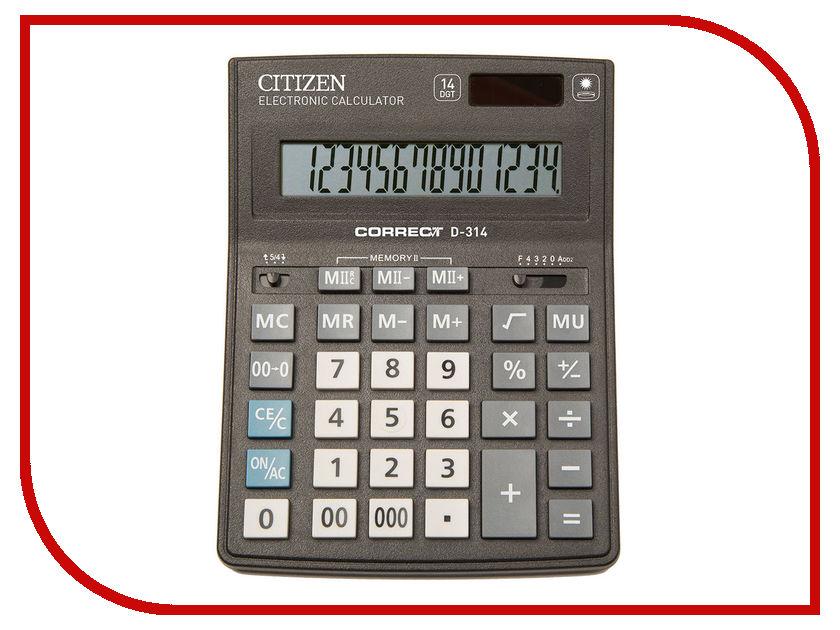 Калькулятор CITIZEN D-314 Black двойное питание