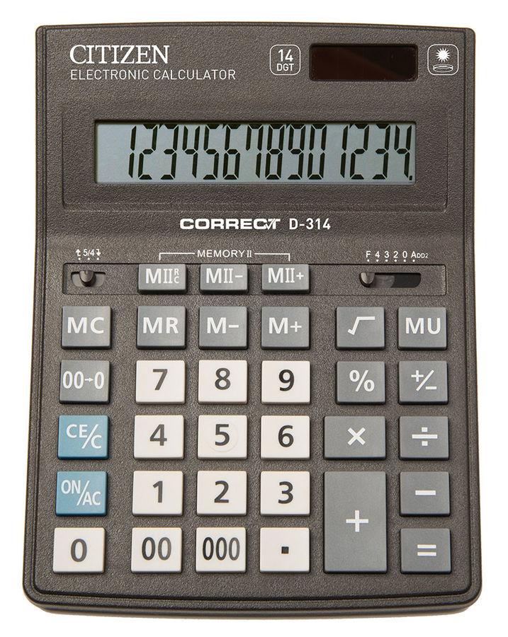 купить Калькулятор Citizen D-314/СDB1401BK двойное питание по цене 382 рублей