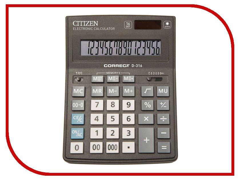 Калькулятор CITIZEN D-316 Black двойное питание