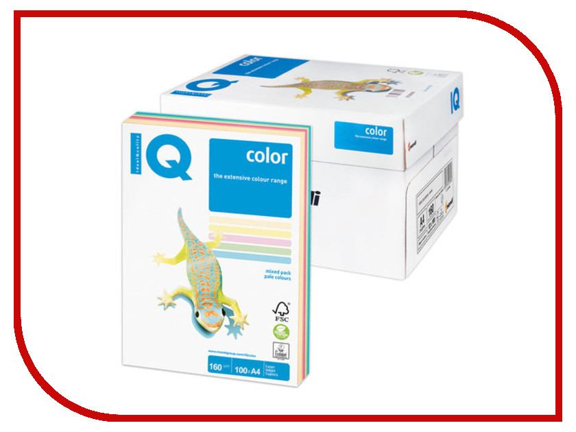 Бумага IQ color А4 160g/m2 100л Colors RB01 110851 бумага iq color intensive а4 160g m2 250л bright yellow ig50 089288