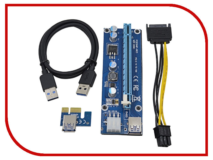 Аксессуар Адаптер Espada Mining PCI-E X1 M to PCI-E X16 F Express USB 3.0 6pin SATA EPCIekit майнинг cy sa 144 express pci e to 2013 apple macbook pro air ssd convert card for a1493 a1502 more