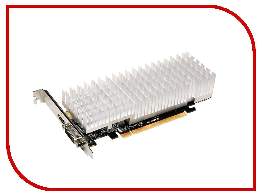 Видеокарта GigaByte GeForce GT 1030 1227Mhz PCI-E 3.0 2048Mb 6008Mhz 64 bit DVI HDMI HDCP Silent Low Profile GV-N1030SL-2GL видеокарта 6144mb msi geforce gtx 1060 gaming x 6g pci e 192bit gddr5 dvi hdmi dp hdcp retail