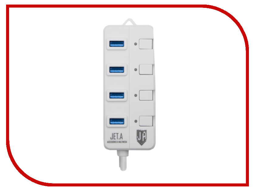 Хаб USB Jet.A JA-UH35 USB 4 ports White хаб usb gembird 4 ports uhb c244