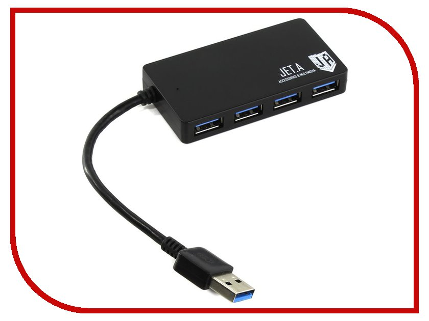 Хаб USB Jet.A JA-UH37 USB 4 ports Black хаб usb gembird 4 ports uhb c244