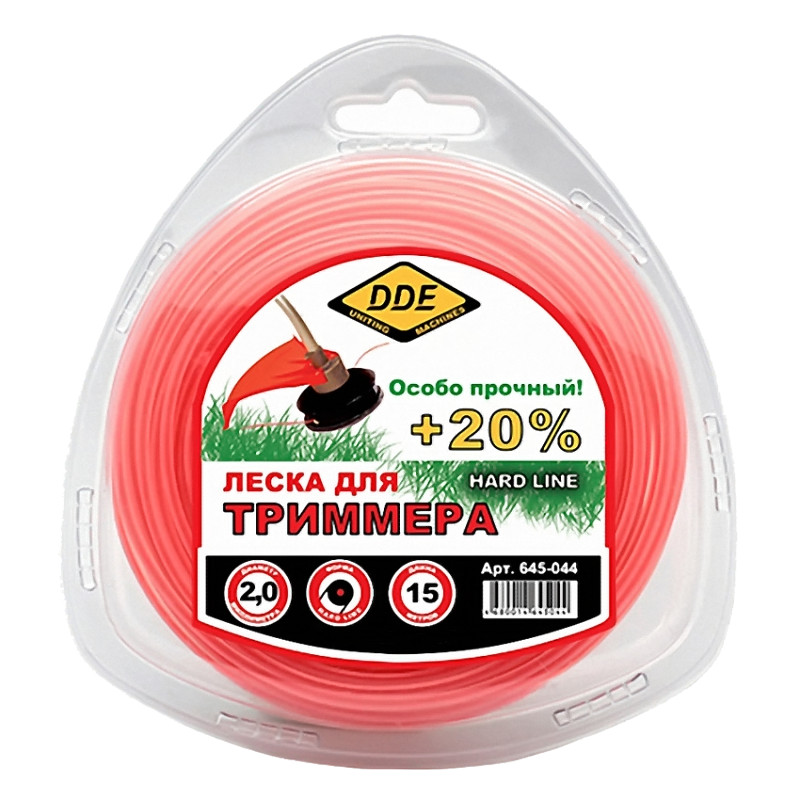 Леска для триммера DDE Hard Line 2.0mm x 15m Grey-Red 645-044