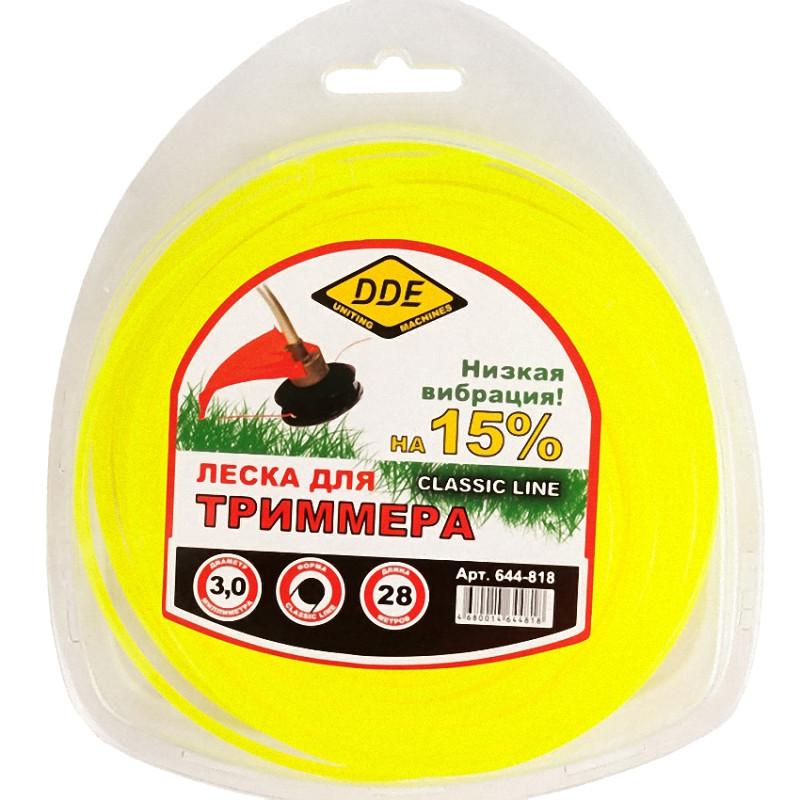 Аксессуар Леска для триммера DDE Classic Line 3.0mm x 28m Yellow 644-818
