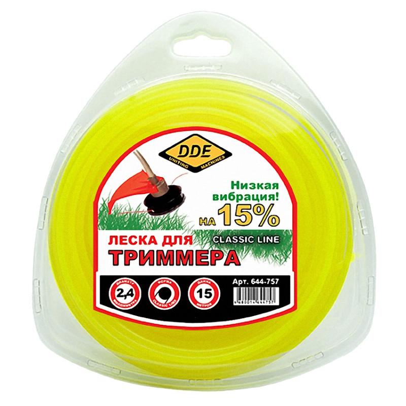 Леска для триммера DDE Classic Line 2.4mm x 15m Yellow 644-757