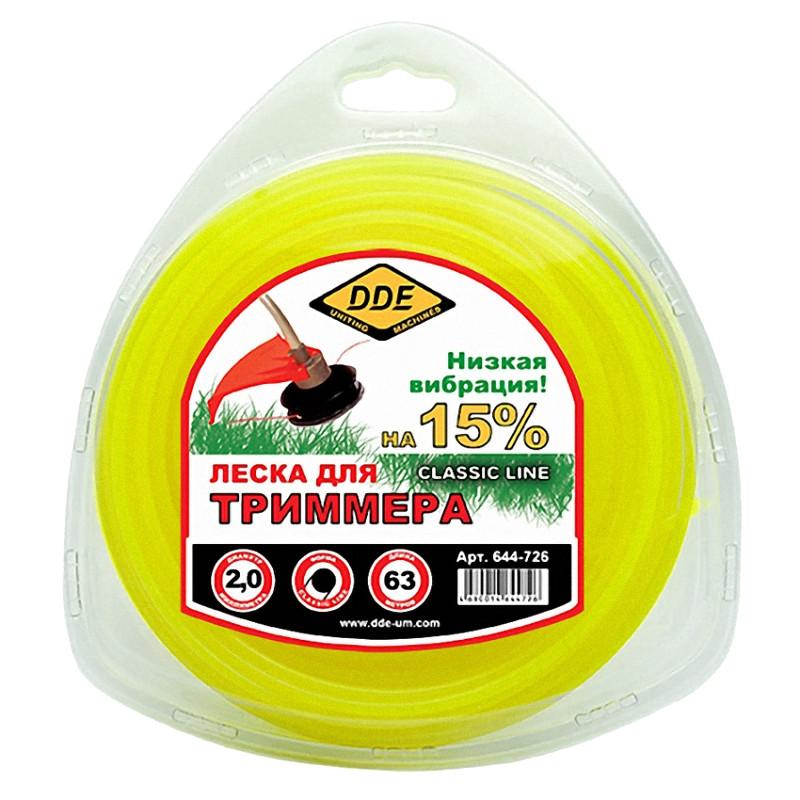 Леска для триммера DDE Classic Line 2.0mm x 63m Yellow 644-726