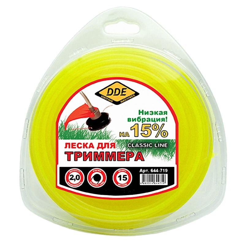 Леска для триммера DDE Classic Line 2.0mm x 15m Yellow 644-719
