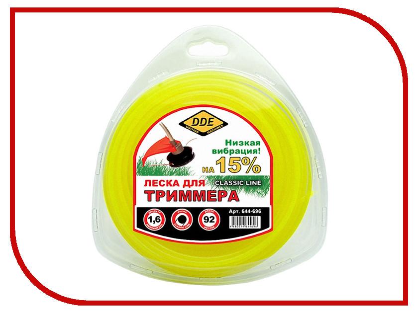 Аксессуар Леска для триммера DDE Classic Line 1.6mm x 92m Yellow 644-696
