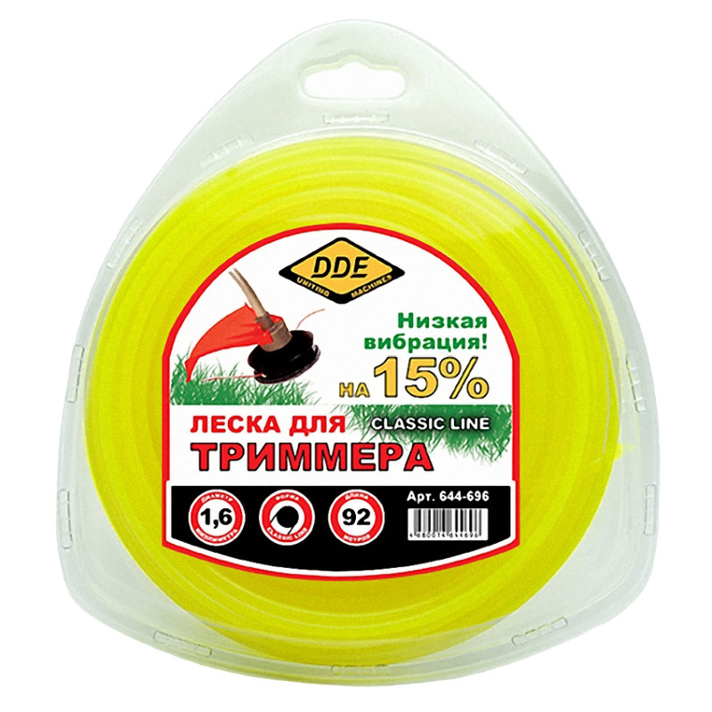 Леска для триммера DDE Classic Line 1.6mm x 92m Yellow 644-696