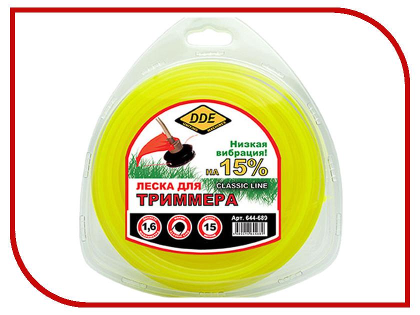 Аксессуар Леска для триммера DDE Classic Line 1.6mm x 15m Yellow 644-689 леска для триммера oregon 99152е старлайн 2 мм х 15 м