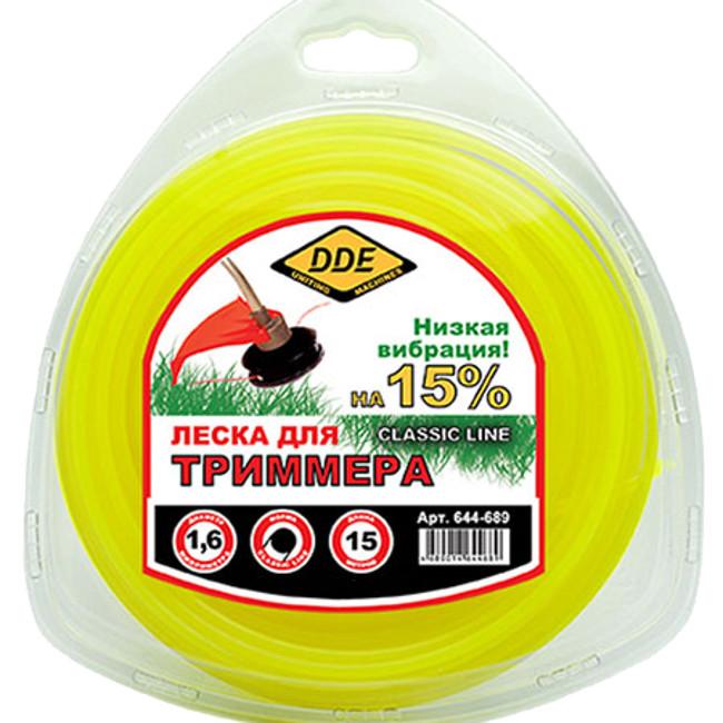 Леска для триммера DDE Classic Line 1.6mm x 15m Yellow 644-689