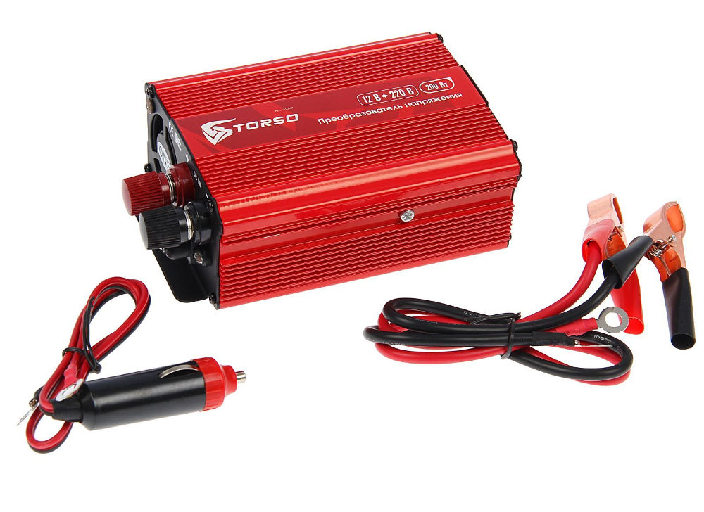 Автоинвертор Torso TP-12-200 (200Вт) 1410967 с 12В на 220В автоинвертор relato ps2000 12v 2000вт с 12в на 220в