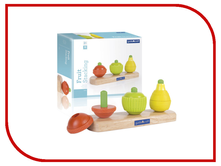 Игрушка Guidecraft Fruit Stacking G6732 wooden fruit shape color sorter stacking block educational toy for baby toddlers