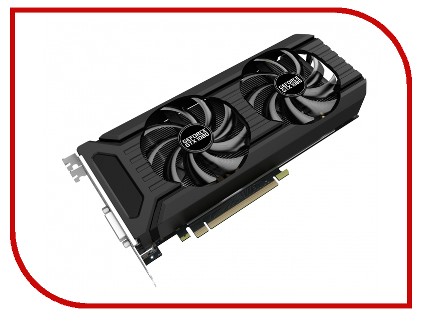 Видеокарта Palit GeForce GTX 1080 Dual OC 1620Mhz PCI-E 3.0 8192Mb 10000Mhz 256 bit DVI HDMI HDCP NEB1080U15P2-1045D видеокарта 6144mb msi geforce gtx 1060 gaming x 6g pci e 192bit gddr5 dvi hdmi dp hdcp retail