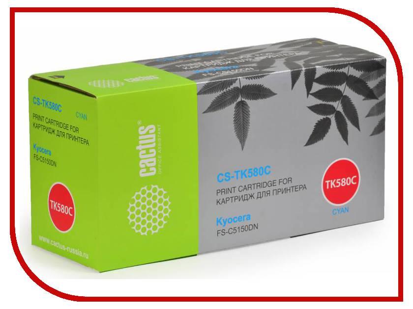 Картридж Cactus Cyan для FS-C5150DN/P6021 Ecosys 2800стр. CS-TK580C картридж hi black tk 580c для kyocera fs c5150dn ecosys p6021 голубой 2800стр