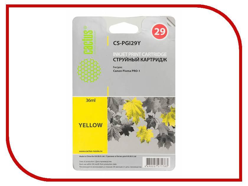 Картридж Cactus Yellow для Pixma Pro-1 36ml CS-PGI29Y картридж cactus cs pgi29y желтый