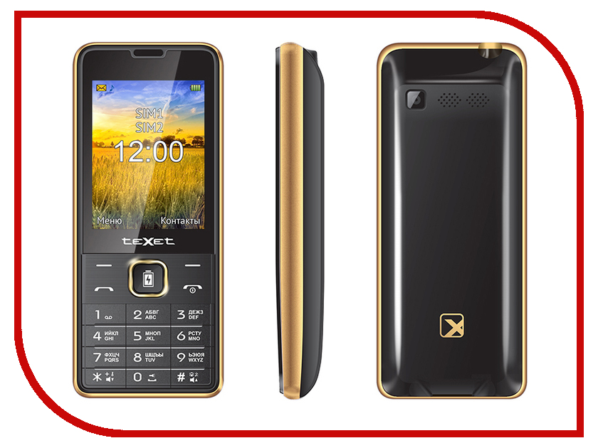 Сотовый телефон teXet TM-D227 Black-Gold