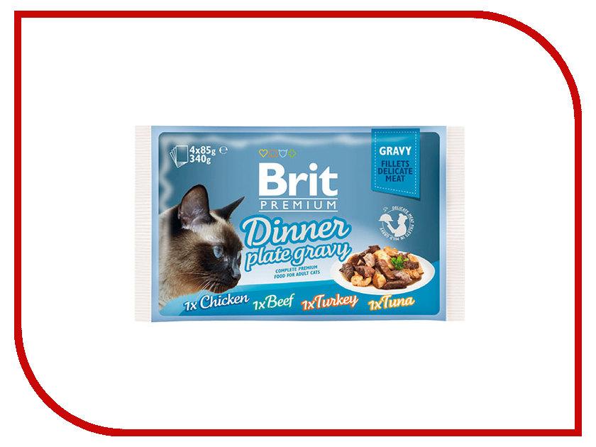 Корм Brit Premium Dinner Plate Jelly Кусочки в соусе 85g для кошек 519415 корм molina куриные кусочки 80g для кошек 70610