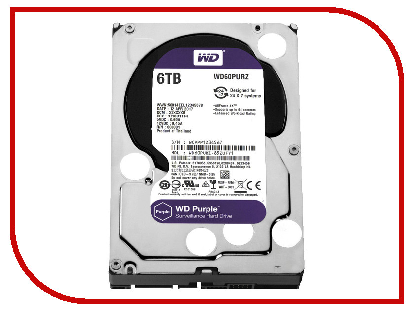 Жесткий диск 6Tb - Western Digital Purple WD60PURZ wd 3tb purple wd30purx