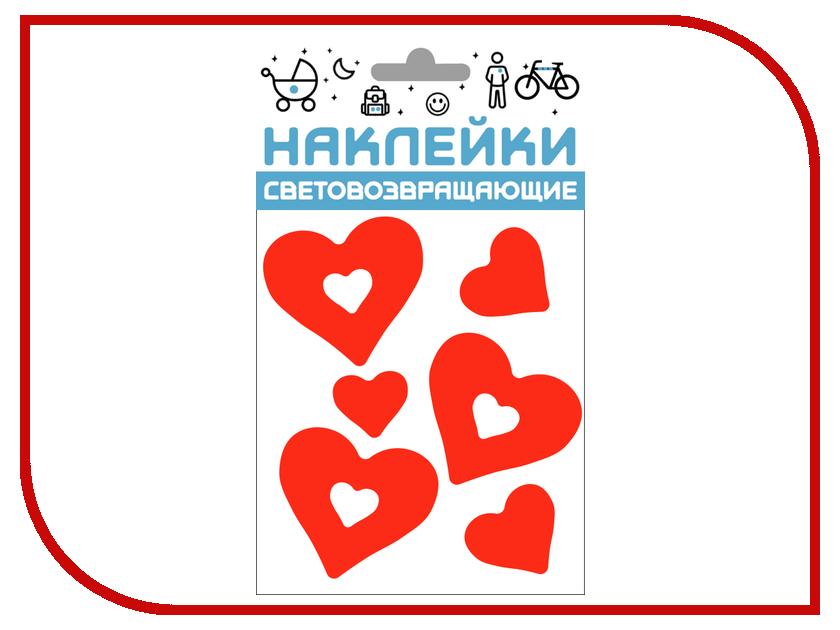 Светоотражатель Cova Наклейки Сердечки 100x85mm Red 333-414